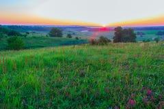 Лучи утра Солнця в ландшафте Стоковая Фотография RF
