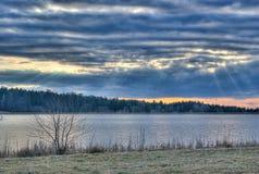 Лучи через облака Стоковая Фотография