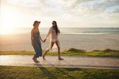 Лучшие други на каникулах пляжа Стоковая Фотография