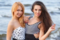 Лучшие други на пляже Стоковое фото RF