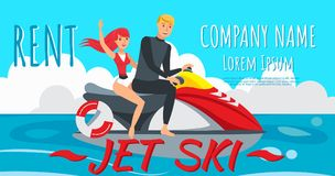 Лыжа двигателя катания мальчика и девушки также вектор иллюстрации притяжки corel иллюстрация штока