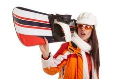 Лыжа жилета меха девушки лыжника женщины усмехаясь нося гуглит Стоковое фото RF