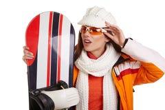 Лыжа жилета меха девушки лыжника женщины усмехаясь нося гуглит Стоковое Фото