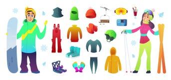Лыжа и оборудование значков собрания сноубординга и смешной дизайн характеров Стоковая Фотография