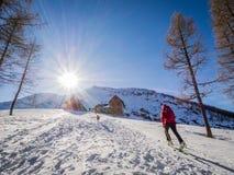 Лыжа путешествуя деятельность при зимы Стоковое Изображение RF