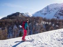 Лыжа путешествуя деятельность при зимы Стоковые Фотографии RF