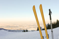 Лыжи и панорама III горы Стоковые Фотографии RF