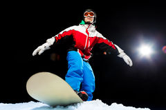 Лыжная маска молодого snowboarder нося готовая для того чтобы сползти Стоковые Фотографии RF