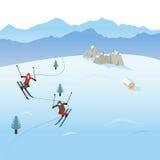 Лыжники в горах Стоковые Фото