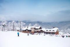 Лыжники катаясь на лыжах на лыжном курорте зима белизны снежинок предпосылки голубая Туризм Стоковое фото RF