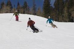 Лыжники катаясь на лыжах вниз с наклона Стоковое Изображение RF