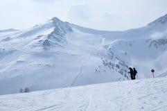 Лыжники катаясь на лыжах в Альпах Стоковая Фотография RF