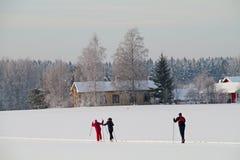 Лыжники на поле в холодном зимнем дне стоковое изображение