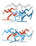 Лыжники по пересеченной местностей иллюстрация штока