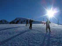 лыжники Стоковая Фотография