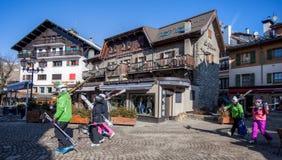 лыжники megeve Франции Стоковое фото RF