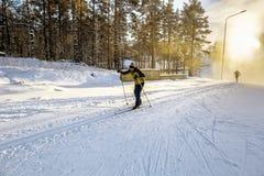 Лыжник бежит на наклонах катаясь на лыжах в древесинах Стоковое Изображение