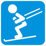 Лыжник, белый силуэт на голубой рамке, значке вектора Стоковое фото RF