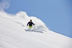 Лыжник в глубоком порошке, весьма freeride стоковые изображения