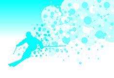 Лыжник в покатом Изображение с открытым космосом для текста Стоковая Фотография RF