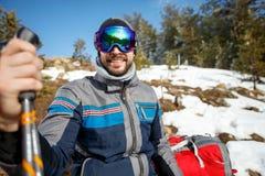 Лыжник в природе стоковая фотография rf