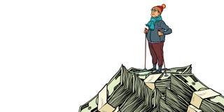 Лыжник, горная вершина долларов денег Изолят на белой предпосылке бесплатная иллюстрация
