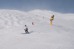 Лыжник и карамболь снежка Стоковые Фото