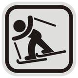Лыжник, младенец и лыжа, чернота и grayframe Стоковая Фотография RF
