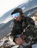 лыжник остальных Стоковая Фотография