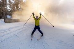 Лыжник представляя на наклонах катаясь на лыжах в древесинах Стоковые Изображения RF