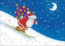 Лыжник Санта Клауса иллюстрация штока