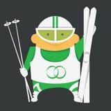 Лыжник с оборудованием катания на лыжах Стоковое Изображение RF