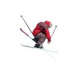 лыжник фристайла скача Стоковая Фотография