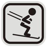 Лыжник, черный силуэт на серой и черной рамке, значке вектора Стоковые Изображения RF