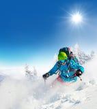 Лыжник Freeride на бежать piste покатый Стоковая Фотография RF