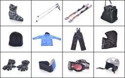 Лыжное оборудование Необходимые вещи для кататься на лыжах Стоковое Изображение RF