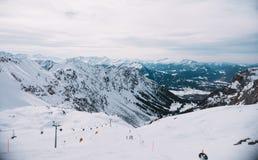 Лыжный курорт в горе, горная вершина, Германия Стоковое фото RF