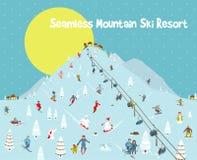 Лыжный курорт горизонта гор шаржа безшовный Стоковые Изображения