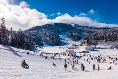 Лыжный курорт горы Стоковые Изображения