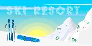 Лыжный курорт дизайна знамени сети зимы, лыжное оборудование, ели, горы и предпосылка солнца иллюстрация вектора