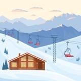 Лыжный курорт с красными подъемом стула, домом, шале, вечером горы зимы и ландшафтом утра, снегом иллюстрация вектора