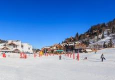 Лыжный курорт Meribel, центр деревни Meribel (1450 m) Франция Стоковые Изображения RF