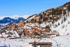 Лыжный курорт Meribel, центр деревни Meribel (1450 m) Стоковая Фотография RF