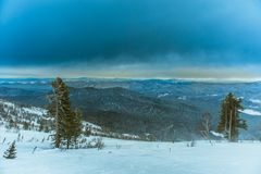 Лыжный курорт Sheregesh, район Tashtagol, Kemerovo Стоковое Изображение RF