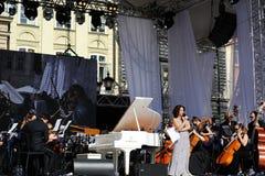 Львов, Украина - июнь 2016: Фестиваль джаза альфы 2016 раскрывая фестивалей джаза Стоковые Изображения RF