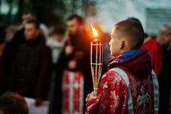 ЛЬВОВ, УКРАИНА - 27-ОЕ АПРЕЛЯ 2016: Страсть святой недели и смерть j Стоковая Фотография RF