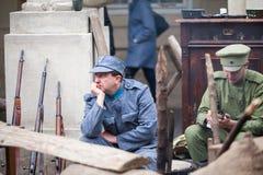 Львов, Украина - 2-ое ноября 2018: 100th годовщина западной украинской народной республики ZUNR Украинские Riflemen Sich стоковое фото