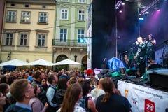 ЛЬВОВ, УКРАИНА - 7-ое сентября 2018: музыка концерта города людей толпы сл стоковые фото