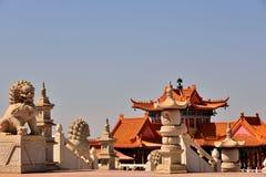 Львы буддийского виска Стоковая Фотография RF