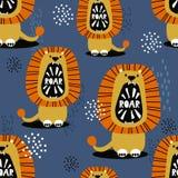 Львы, красочная милая безшовная картина стоковые фото